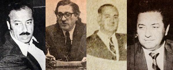 Guillermo Toro Lira, Augusto Moral, Carlos Cobilich y Miguel Pellny, los dirigentes de la época en el fútbol peruano (Recorte: revista Ovación)
