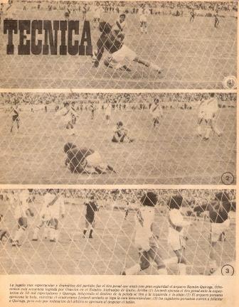 Febrero de 1977: Perú cede un empate en Quito 1-1 ante Ecuador en un partido que parecía ganado, sobre todo luego de que Ramón Quiroga le atajara el penal que ilustra la secuencia fotográfica a Ángel Liciardi (Recorte: Ovación, Nº 113 p. 5)