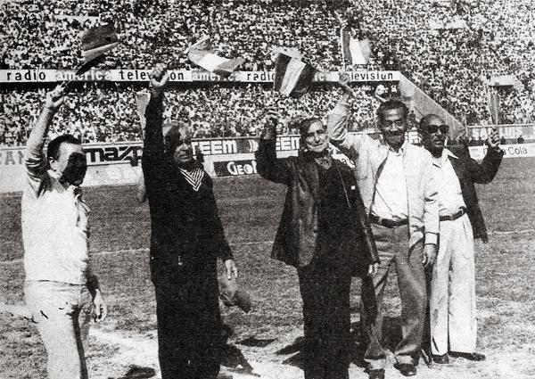 Cinco peruanos mundialistas en Uruguay '30 se dieron cita en el Nacional: Alberto Baldovino, 'Prisco' Alcalde, Antonio Maquilón, Juan Honores y Juan Quispe (Recorte: revista Ovación)