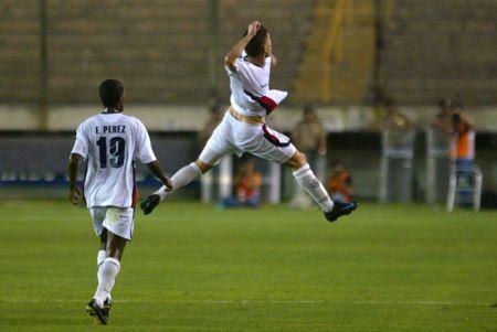 En el salto triunfal luego de su golazo en el arco de Ochoa (Foto: ANDINA)
