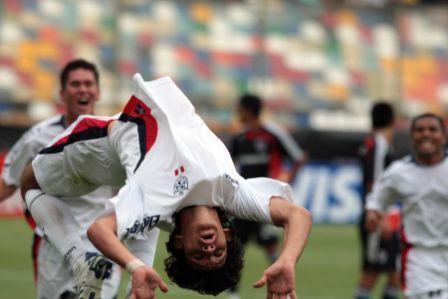Roberto Ovelar marcó el primer gol de la San Martín en la Libertadores (Foto: Andina)