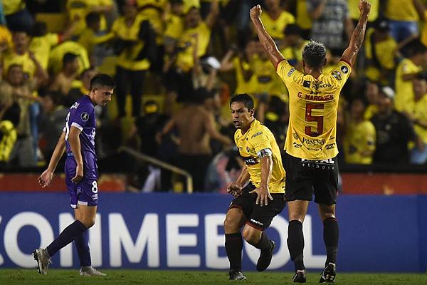 El gol de Matías Oyola no alcanzó para las aspiraciones del Barcelona SC. (Foto: AFP)