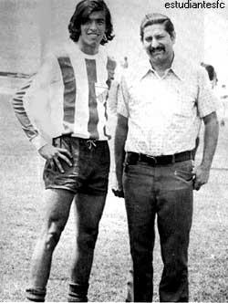 Richard Páez (izquierda) en los años setenta con la camiseta del Estudiantes de Mérida junto a otro gran ídolo del club: Guillermo Soto Rosa (Foto: forest.ula.ve)