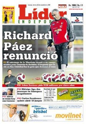 Portada del diario venezolano Líder en Deportes que daba cuenta de la renuncia de Páez al seleccionado (Foto: liderendeportes.com)