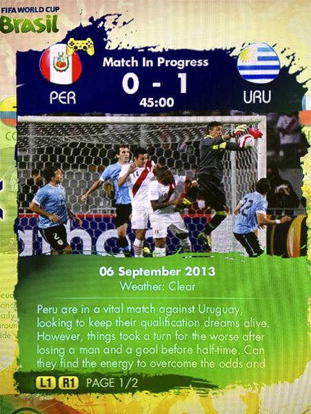 En uno de los retos más nostálgicos, Perú podrá voltear el marcador a Uruguay en el FIFA World Cup 2014 de EA Sports (Captura: EASports)