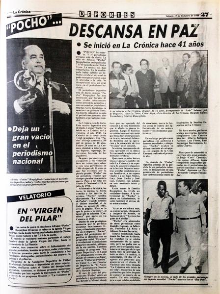 El diario La Crónica informó así la noticia de la desaparición de 'Pocho' en su edición del sábado 15 de octubre (Recorte: diario La Crónica)