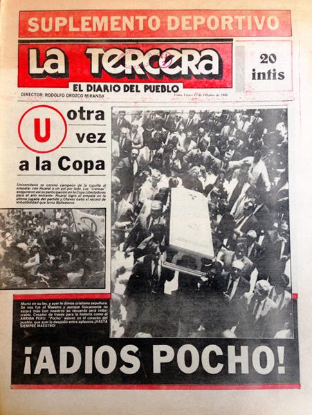 El adiós a 'Pocho' Rospigliosi pudo más que el torneo local cuando la 'U' y su clasificación a la Libertadores quedaron en un segundo plano (Recorte: diario La Tercera)